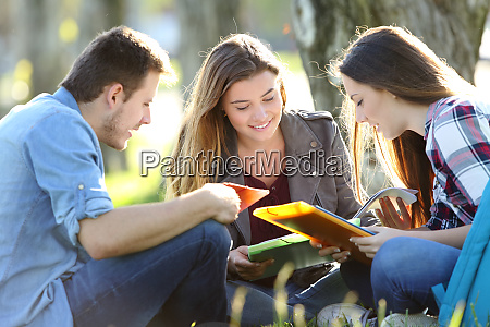 three students studying outdoors on the