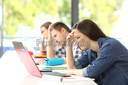 frustrated students learning on line in