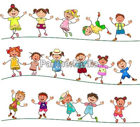 joyful little kids for a walk