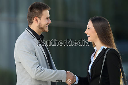 happy executives meeting and handshaking on