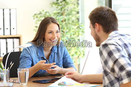 entrepreneurs talking at office
