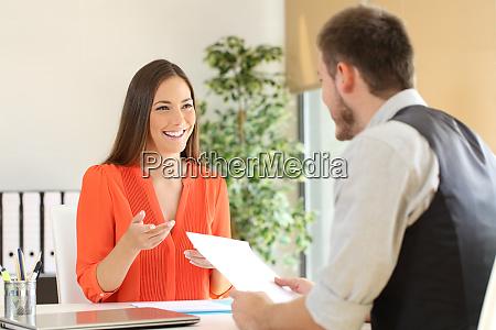 woman talking in a job interview