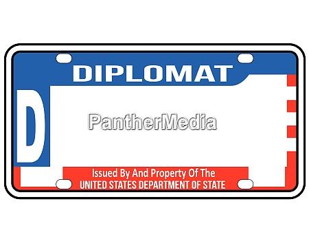 usa diplomatic license plate blank