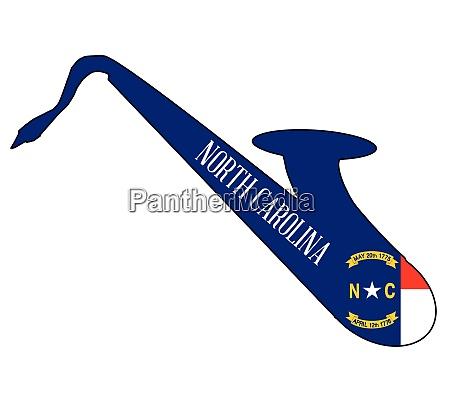 saxophone silhouette with north carolina flag