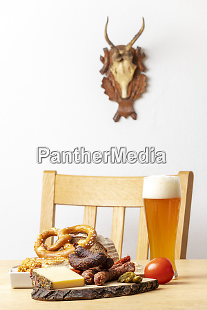 german sausages with cheese and beer