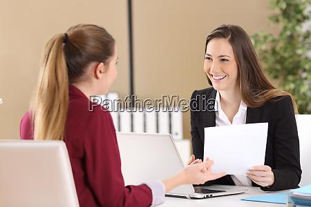 boss attending in a job interview