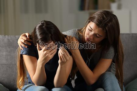 girl comforting her divorced friend