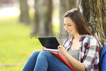 student watching media content in a
