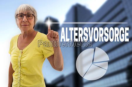 pension provision in german altersvorsorge touchscreen