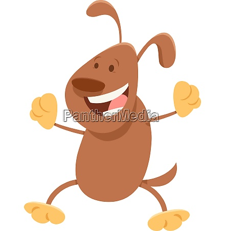 happy brown dog cartoon animal character