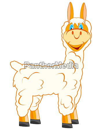 cartoon animal lama on white background