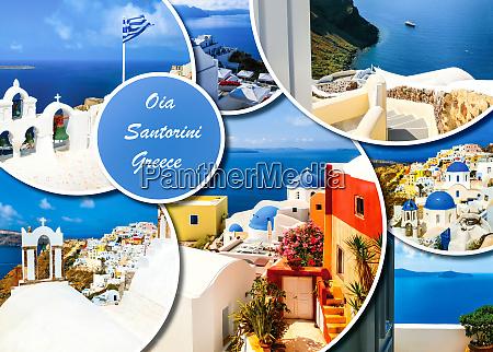 set of different santorini photos rest