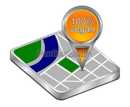 orange map pointer with 100 vegan