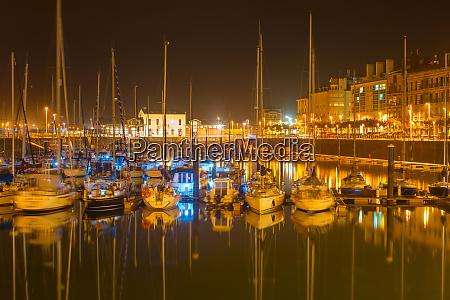 gijon marina with yachts spain