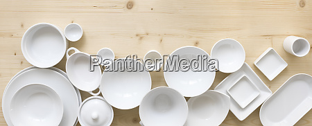 modern white crockery in different designs