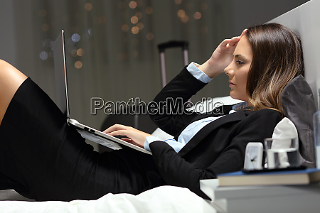 tired businesswoman working during a business