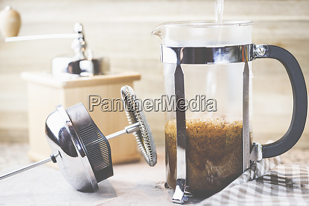 coffee from grinding the beans to