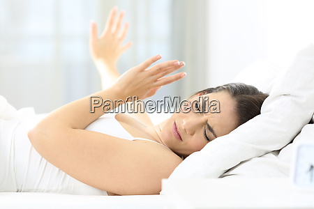 girl upset waking up with the