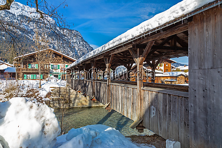 wooden bridge over loisach river in