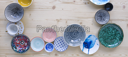 different kinds of modern colourful crockery