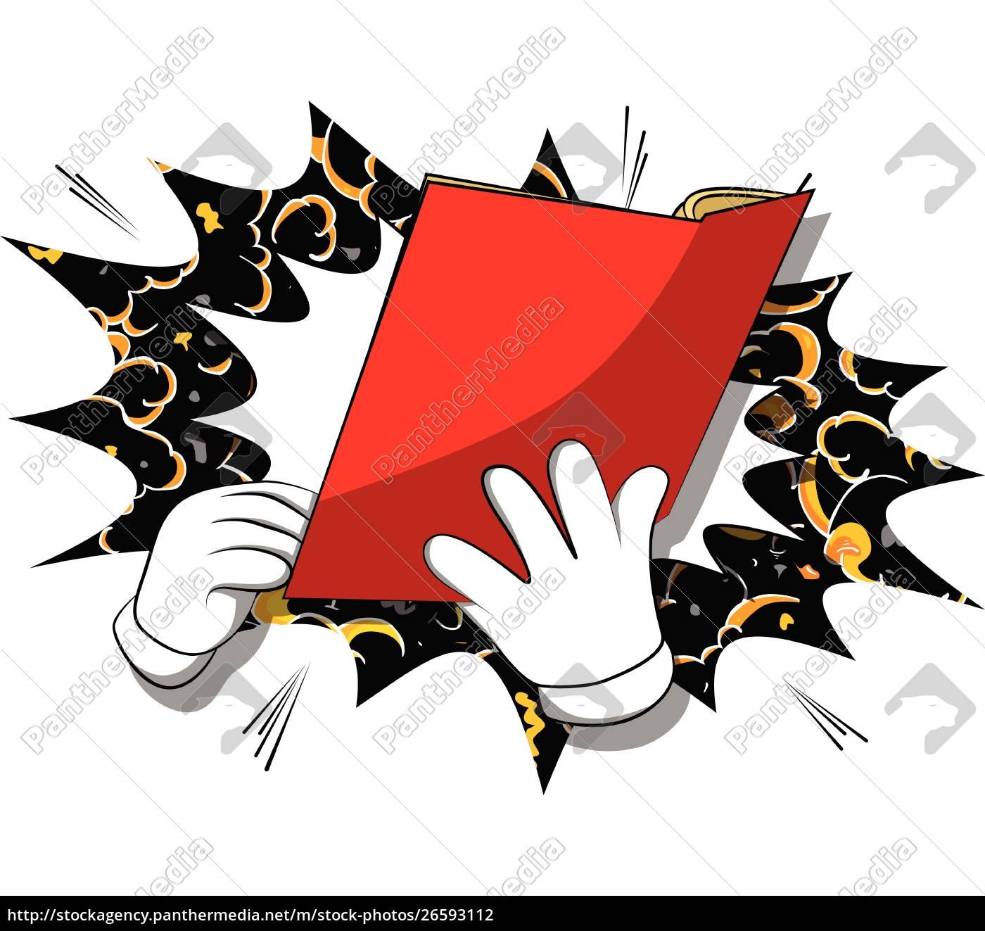 cartoon, hand, holding, a, book. - 26593112