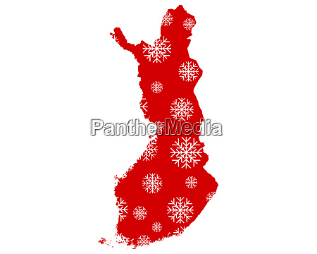 map of finland with snowflakes
