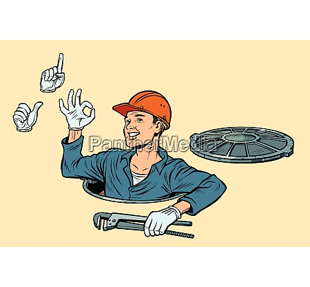 plumber in the manhole set of