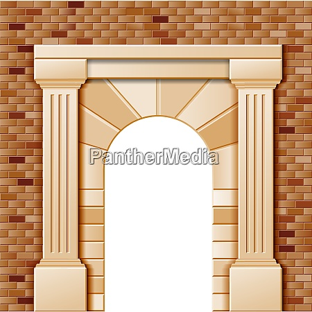 entrance with arch vector colored template