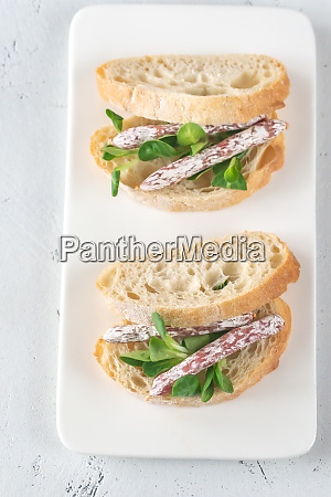 sandwich with mini fuets on the