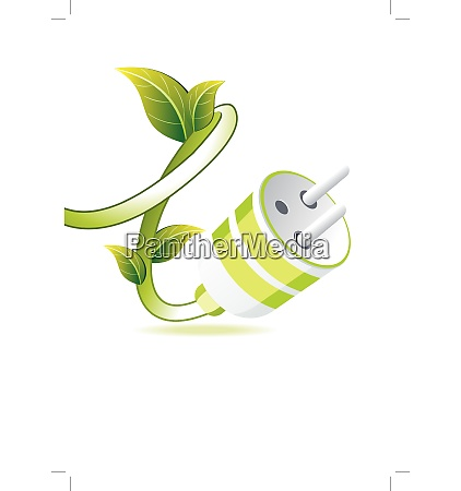 green plug with leaf on white