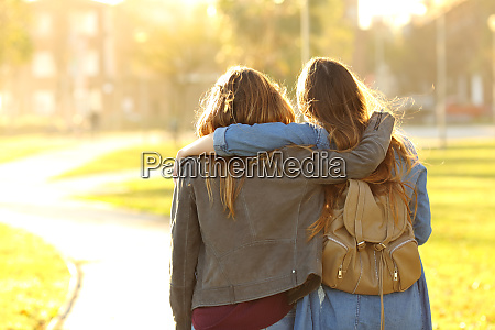 affectionate friends walking at sunset in