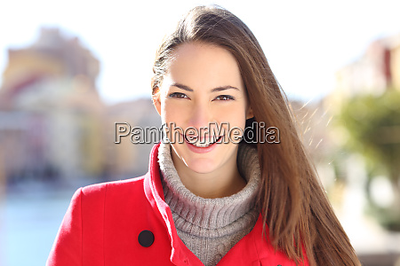 happy lady with perfect smile looking