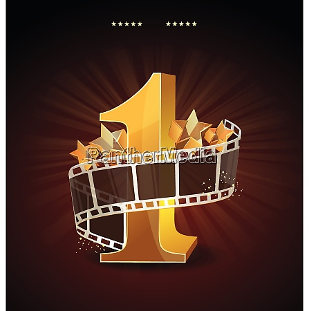 gold number 1 with twisted filmstrip