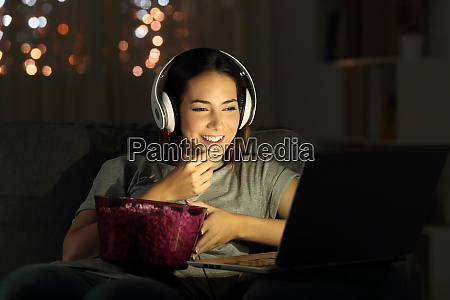 woman watching online tv in the