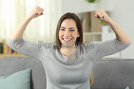 strong and proud woman gesturling looking