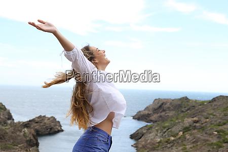 side view of a joyful girl