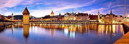 luzern kapelbrucke and riverfront architecture famous