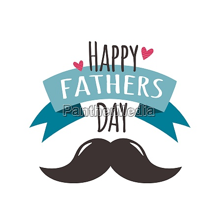 happy fathers day with hearts ribbon