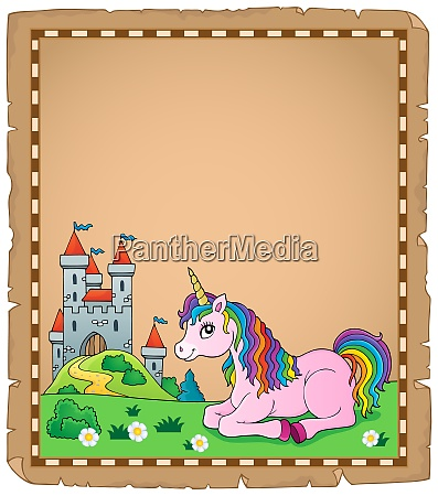 parchment with lying unicorn theme 4
