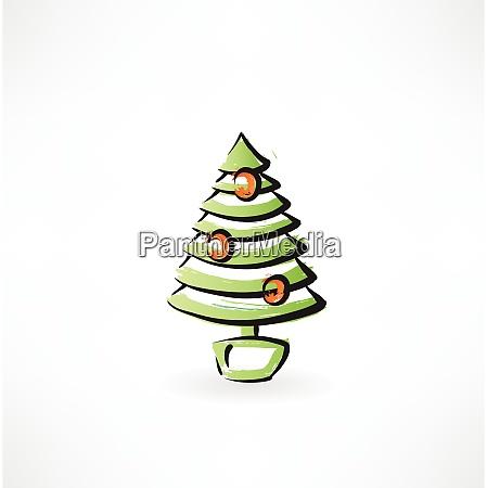 fir tree grunge icon
