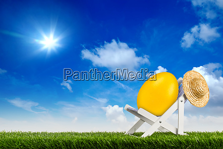 easter egg on deck chair sun