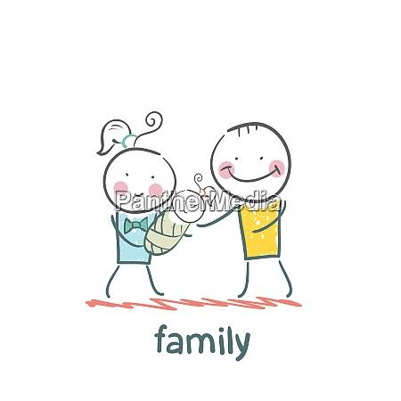 family fun cartoon style illustration the
