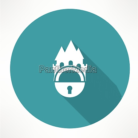 castle and locking icon flat modern