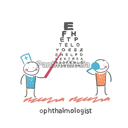 ophthalmologist checks sight of the patient