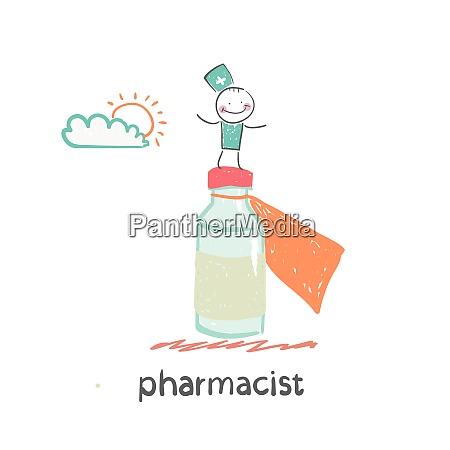 pharmacist fun cartoon style illustration the