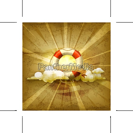 lifebuoy old style vector background