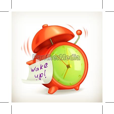 wake up alarm clock vector icon
