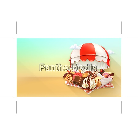 coffee and pastry shop confectionery vector