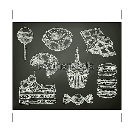 confectionery sketches on the chalkboard vector