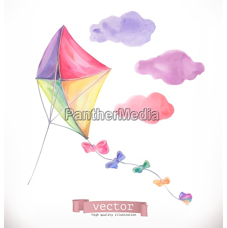 kite watercolor vector illustration